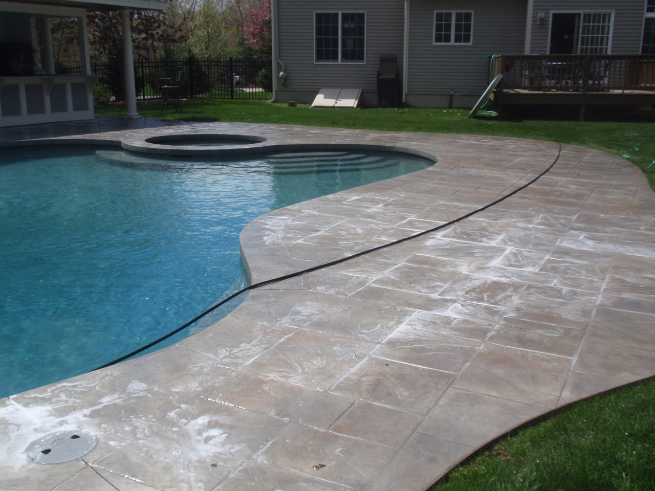 Stamped Concrete Pool Patio Sealed In Sharon Ma Bristol