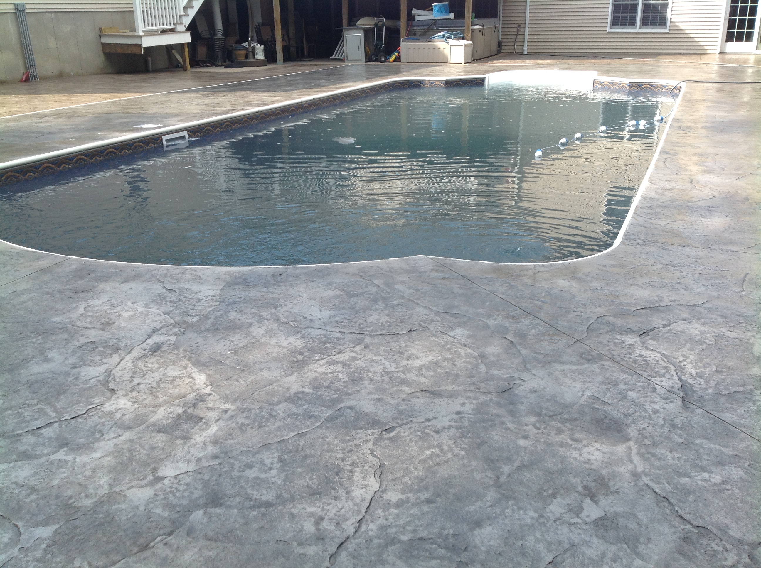 Stamped Concrete Pool Deck Sealing Photo Swansea Ma