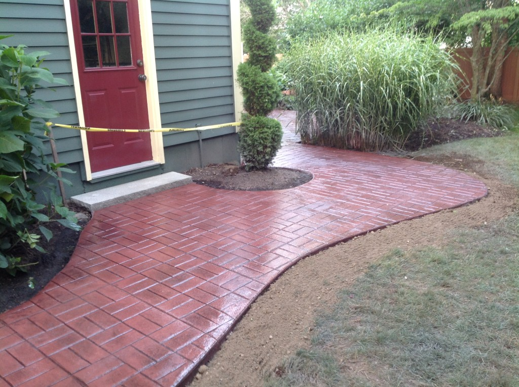 stamped concrete walkway sealing photo
